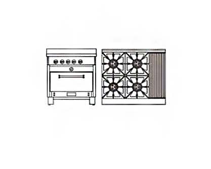 Cocinas industriales cocina cocina industrial 4 platos for Parrilla cocina industrial
